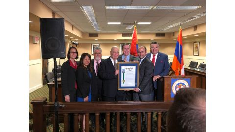 The Legislative Armenian Caucus prior to the Legislative Commemoration of the 103rd Anniversary of the Armenian Genocide