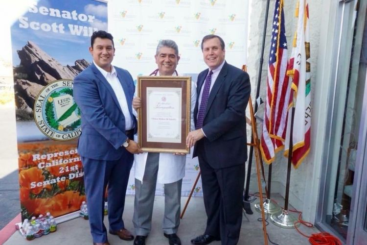 Pictured from L-R - Kevin Guillen, the director of the AV Hispanic Chamber of Commerce and Co-chair or the AVHCC Economic Development, Dr. Guillen and Senator Wilk.