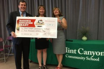Wilk presents $5,000 Barona Education Grant to Mint Canyon Community School